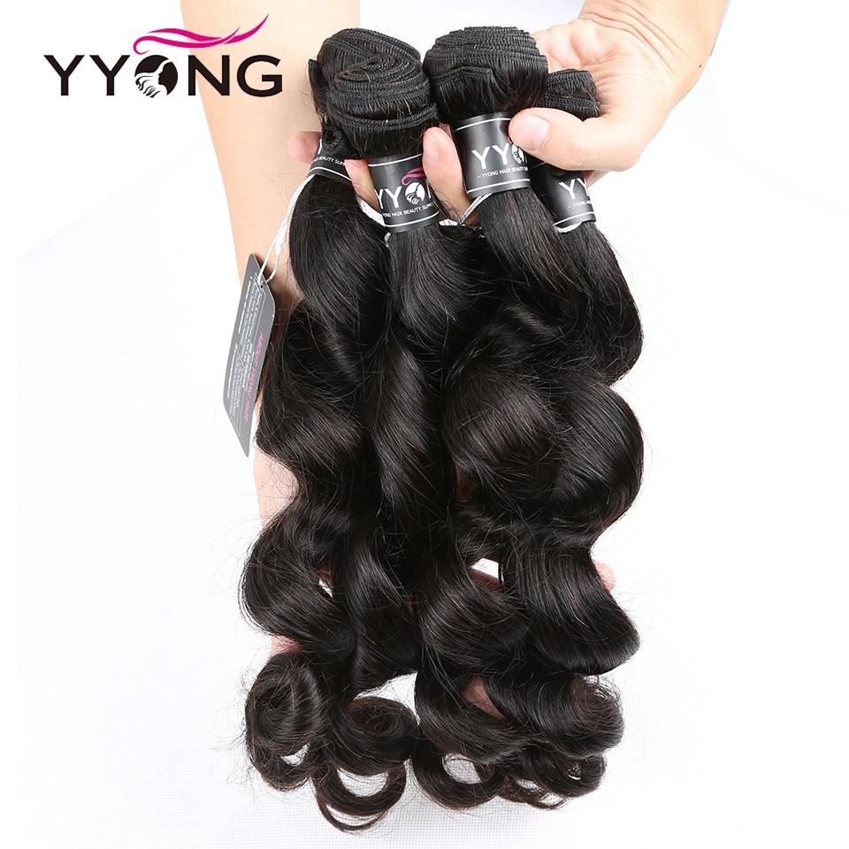 Yyong  Loose Wave Bundles With Closure 100%   4 Bundles With Lace Closure No Shedding No Tangle  4