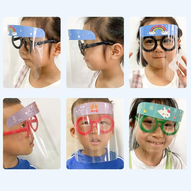 New Child Protective Face Mask+Glasses Cute Cartoon Anti-fog Dust-proof Anti-spatter Waterproof Safety Full Facial Cover Shield 2