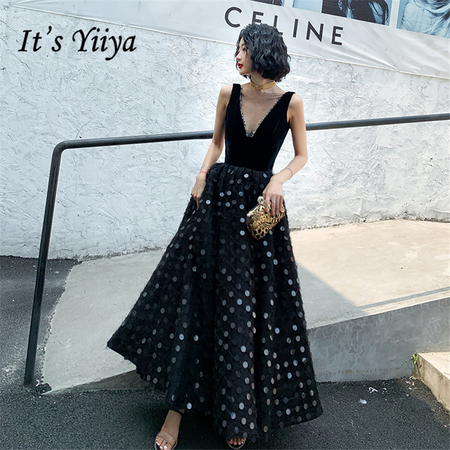 It's Yiiya Evening Dresses Shining Sequins V-neck Black Formal Evening Dress Elegant Plus Size E1365 Sleeveless Robe De Soiree