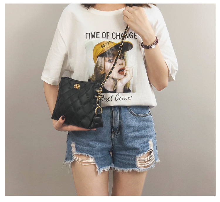 CmetNi Black Small Women Messenger Bag Soft Washed PU Leather Crossbody Bag Female Handbag Purses Chain