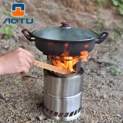Camping Wood Stove Portable Outdoor Folding Titanium Wood Stove Burning for Backpacking Survival Cooking Picnic Hunting