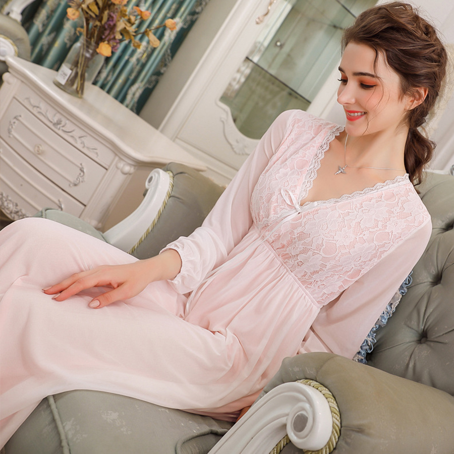Autumn Sexy V-neck Long-sleeved Nightgown Women Sweet Lace Palace Princess Midi Dress Sleepwear Fashion Plus Size Slim Lingerie