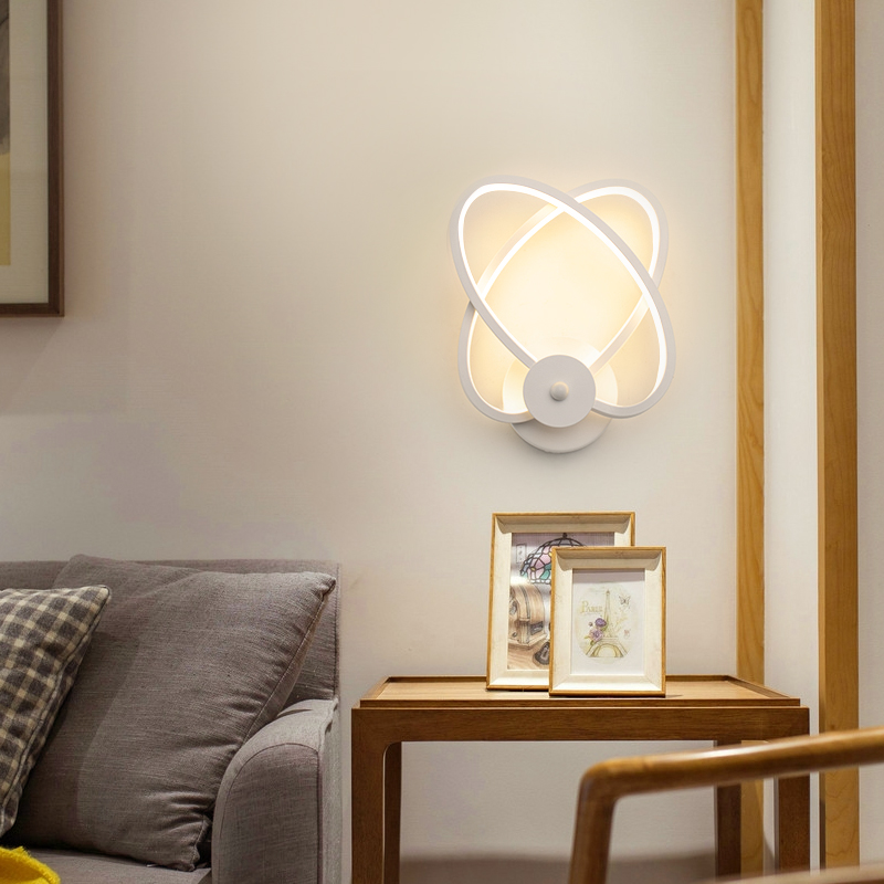 LED Wall Lamp Modern Living Room Bedroom Bedside White LED Sconce Creative Circle Antlers Plum Blossom Aisle Corridor Wall Light 2