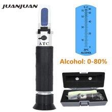 Handheld Alcohol Bier Refractometer Geesten Tester Alcohol 0-80% Draagbare Alcoholmeter Verstelbare Handleiding Atc Met Doos