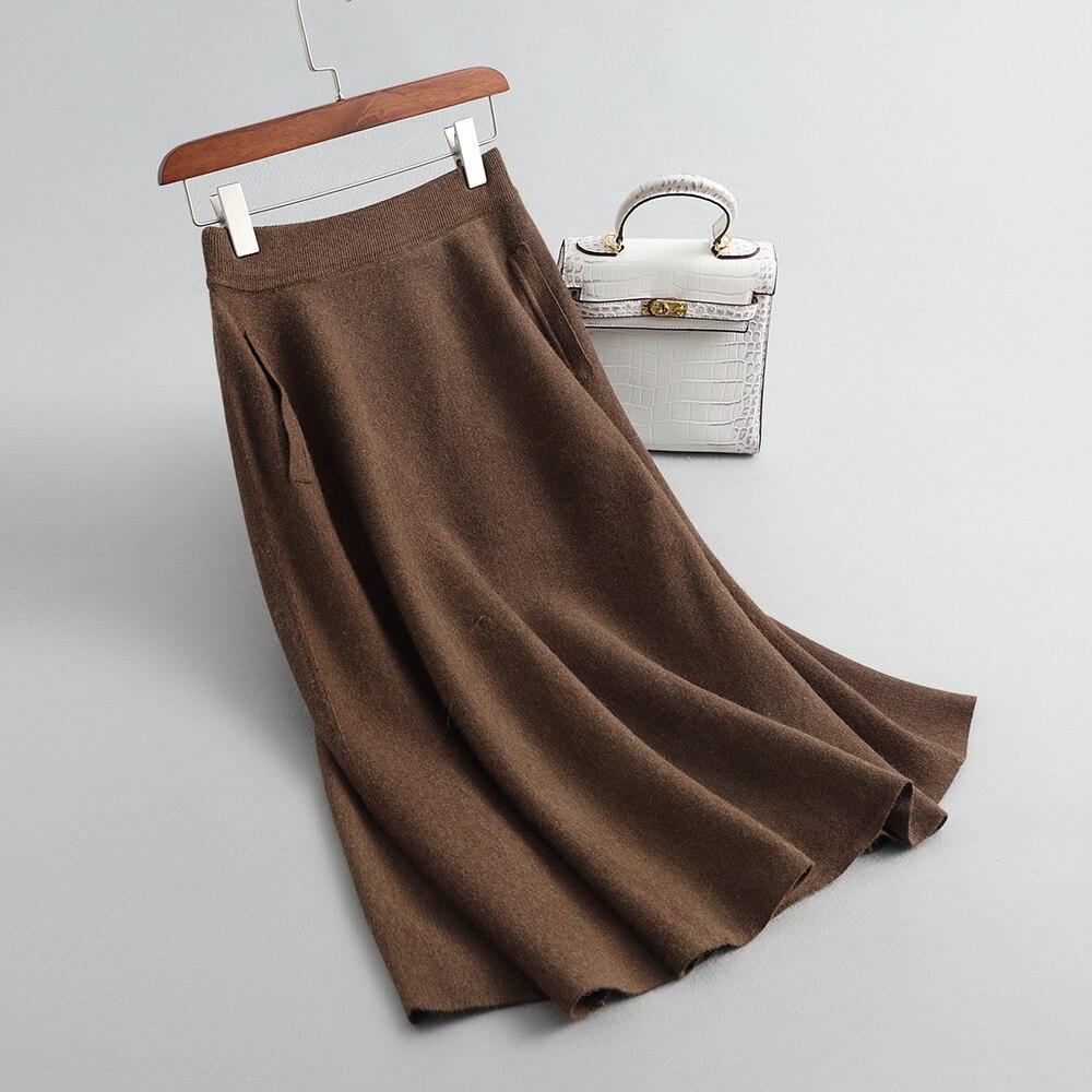 Sherhure 2019 High Waist Wool Knitted Women Winter Skirt With Pocket A-Line Long Skirt Women Autumn Skirt Faldas Jupe Femme Saia
