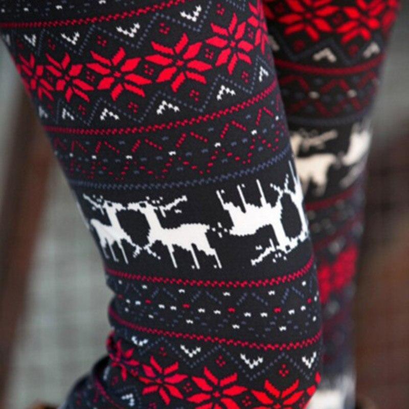 FENNASI Stripe Warm Women's Leggings Women Sexy Winter Soft Casual Leggings High Waist Snow Print Elk Pattern Christmas Leggings