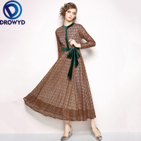 DROWYD Vintage Lace Boho Party Midi Dress Women's 2019 Winter New Sexy Long sleeved Brown Dress Casual Elegant Dresses Vestidos