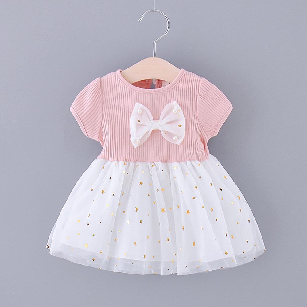 Short Sleeve Star Moon Sequins Tulle Dress For Baby Girls Summer Birthday Princess Dress Kids Baby Girl Dress Clothes RL2