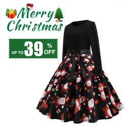 RICORIT Women Christmas Dress Swing Elegant Women Print Dress Party Dresses Long Sleeve Dress Vintage Women Dress Robe Plus Size 1