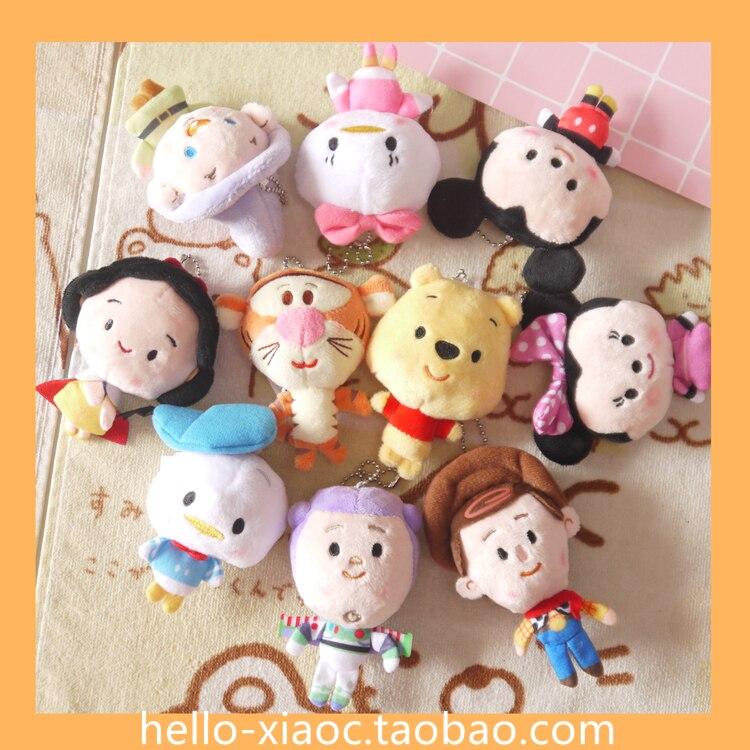 New Cute Minnie Mickey Stuffed Plush Toys ,Donald Daisy Q Version TSUM Tsum Anna Elsa Plush Pendant Keychain 10cm