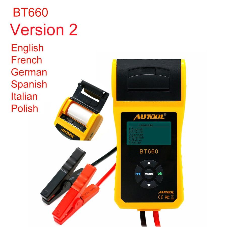 AUTOOL BT660 V2 батарея тестер Автомобильные батареи измерительный инструмент с принтером Многоязычная автомобильная система питания Диагности...