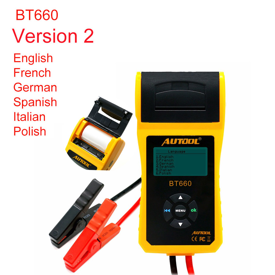 AUTOOL BT660 V2 <font><b>Battery</b></font> Tester <font><b>Car</b></font> <font><b>Batteries</b></font> Measure <font><b>Tool</b></font> with Printer Multilanguage Automotive Power System <font><b>Diagnostic</b></font> Meter image