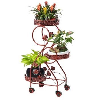 Wrought iron flower stand multi-layer push-pull mobile wheel   living room  pot  floor green hanging hangi