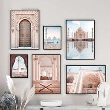 Cuadro sobre lienzo para pared Sheikh Zayed gran mezquita East Gate carteles nórdicos e impresiones decoración cuadros de pared para sala de estar