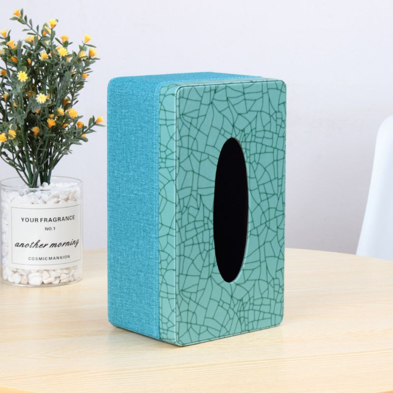 Rectangular Marble Linen PU Leather Facial Tissue Box Cover Napkin Holder Paper Towel Dispenser Container for Home Office Decor