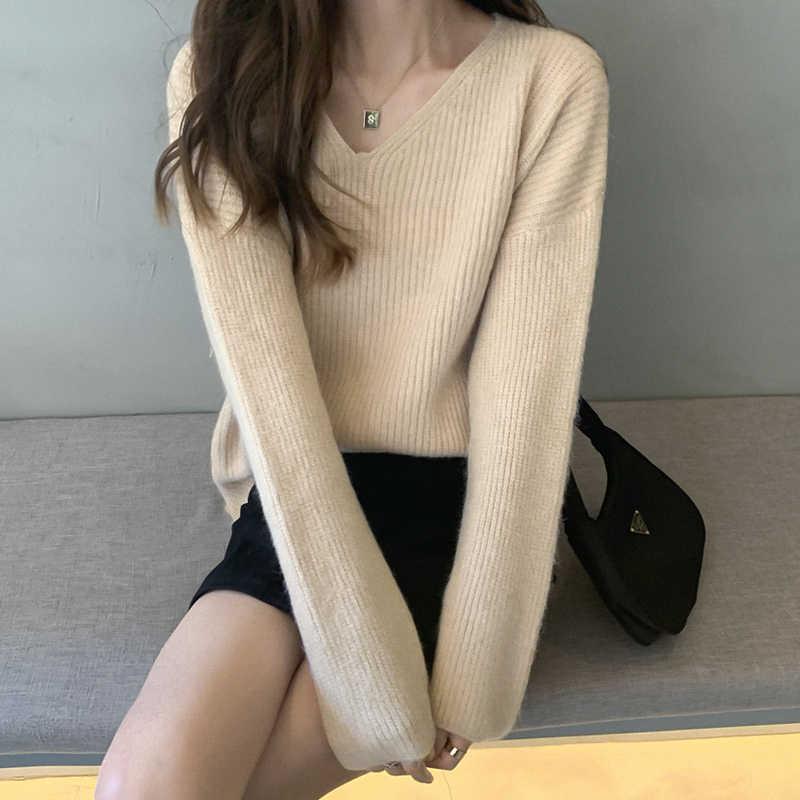 Bgteever 캐주얼 v-목 여성 뜨개질 스웨터 모든 일치 측면 분할 느슨한 풀오버 점퍼 여성 스웨터 겨울 2019