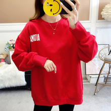 New Fashion Cotton Long sleeves Letter Harajuku Print Big Red Pullovers Tops O-neck Womens Hooded sweatshirt tops