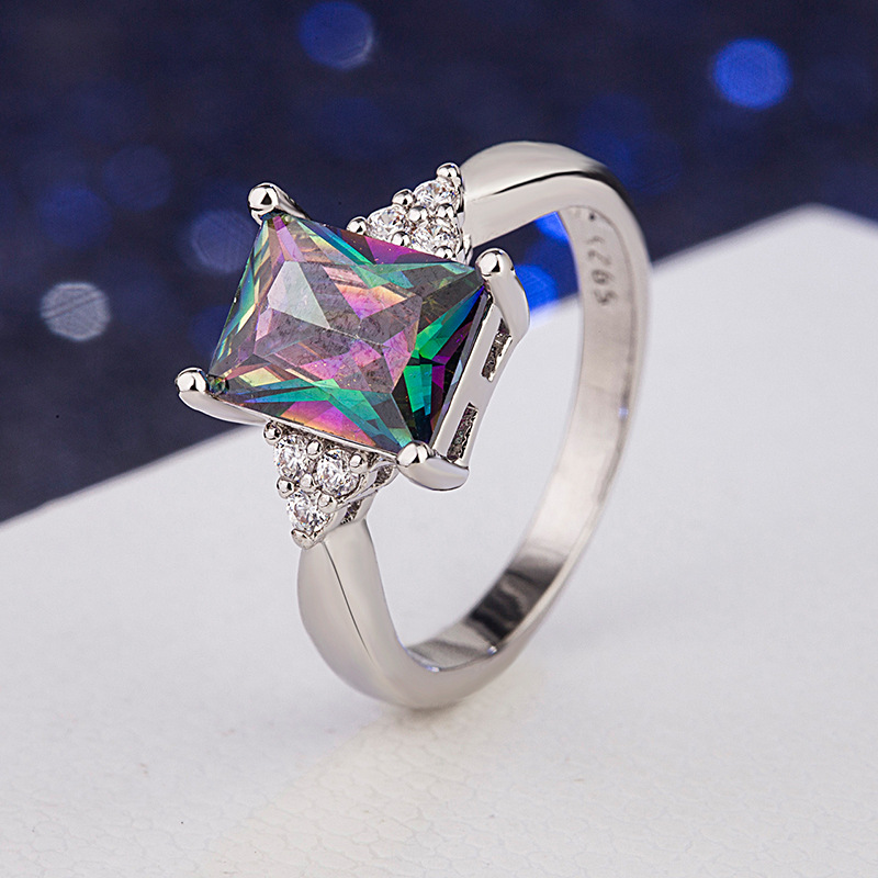 Classic 925 Sterling Silver Wedding Party Gemstone Ring Personality Geometric Colorful Zircon Rings For Women Silver 925 Jewelry
