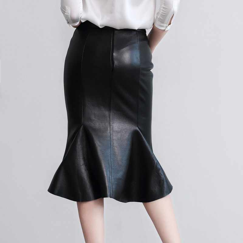 Nova elegante feminina magro ajuste sereia joelho comprimento saia senhora do escritório cintura alta bodycon plissado festa de couro genuíno fishtail saias