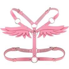 Розовая толстовка с капюшоном, надписью «Angel» и принтом «крылышки из искусственной кожи тела портупея бюстгальтер сексуальное женское белье Фетиш для Для женщин панк Готическая перевязь кроп-топы Косплэй одежда в стиле рейв