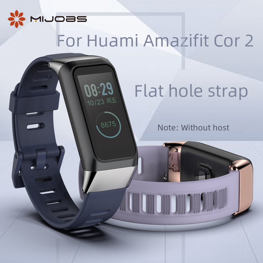 Mijobs For Xiaomi <font><b>Amazfit</b></font> <font><b>Cor</b></font> <font><b>2</b></font> Strap Silicone Stainless steel Metal For Huami <font><b>Amazfit</b></font> Cor2 Smart <font><b>Bracelet</b></font> Replacement Wristband image