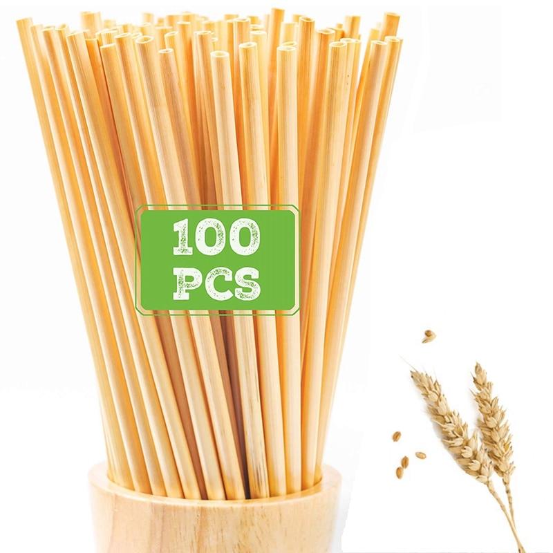 100 шт. 20 см одноразовые соломинки для пшеницы, экологически чистые натуральные соломинки для питья пшеницы, портативные экологически чистые...