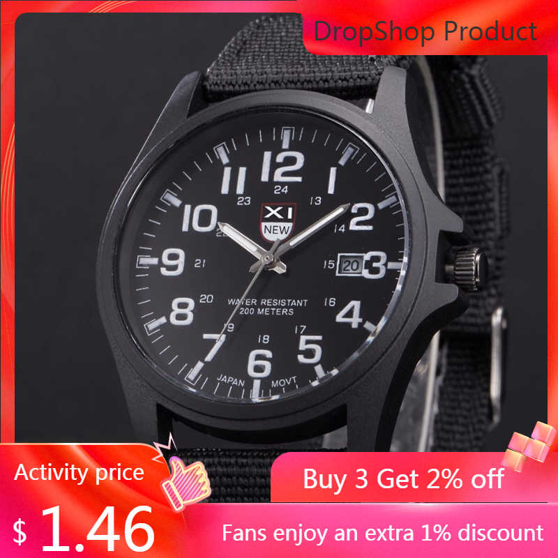 Men Men's Watch 2019 Quartz-Watch Clock Outdoor Mens Date Stainless Steel Reloj Military Sports Analog Quartz Army Wrist Watch