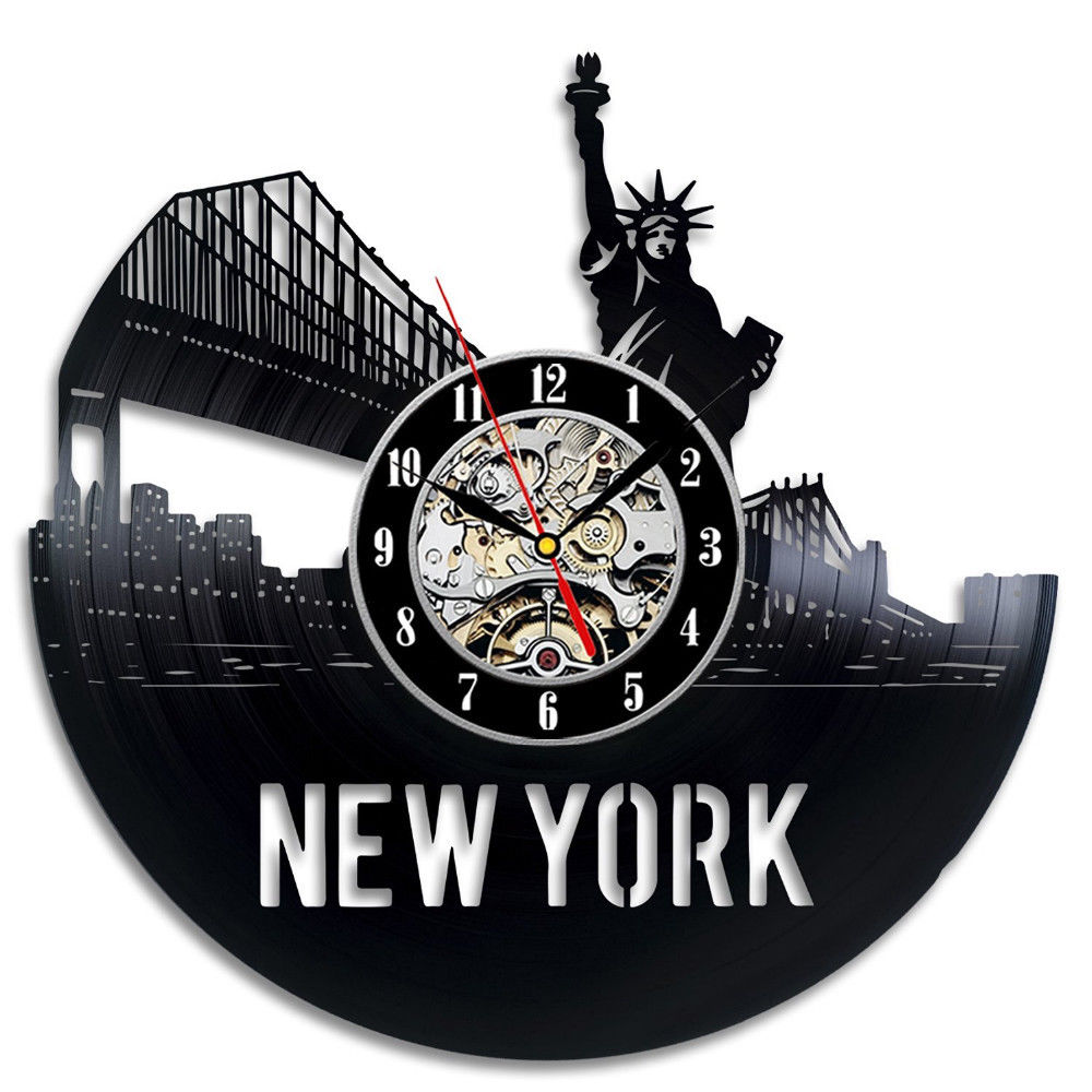 Vinyl Record Wall Clock Modern Design Classic CD Clocks Mute Creative Retro Style New York City Wall Watch Home Decor 12 Inch