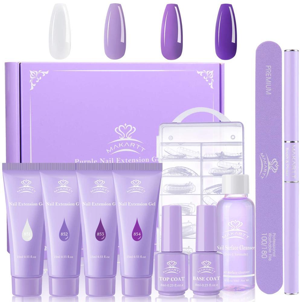 Makartt Purple Poly Nail Extension Gel Kit, 15ML Nail Extension Gel Builder Gel With Slip Solution Nail Art Equipment Kit