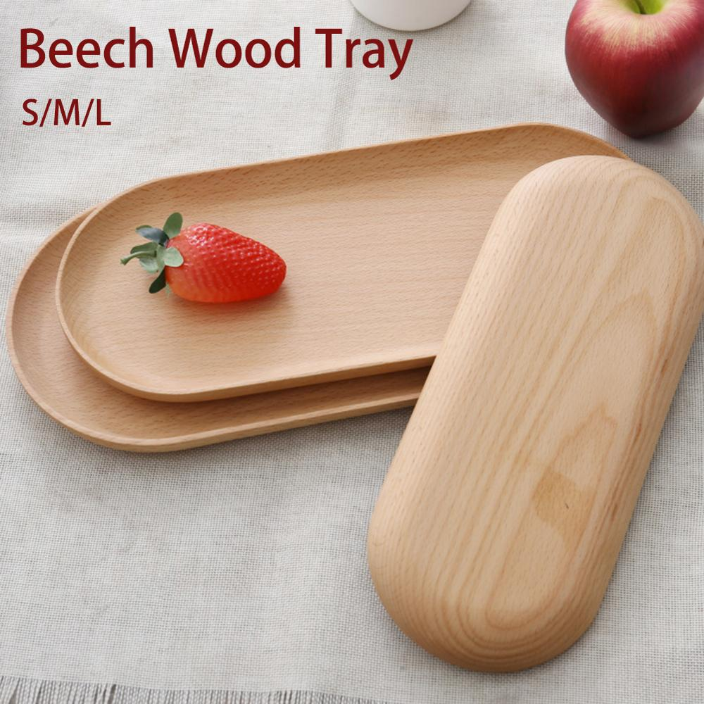 Family Tea Trays Wooden Plate Food Tray Round Corner Fruit  Storage Organizer Snack Dessert Serving Trays Tea Cup Mug Coaster