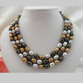 Unique Pearls jewellery Store 3row 13mm Black Coffee Gray Genuine Freshwater Pearl Necklace Fine Jewelry Women Gift