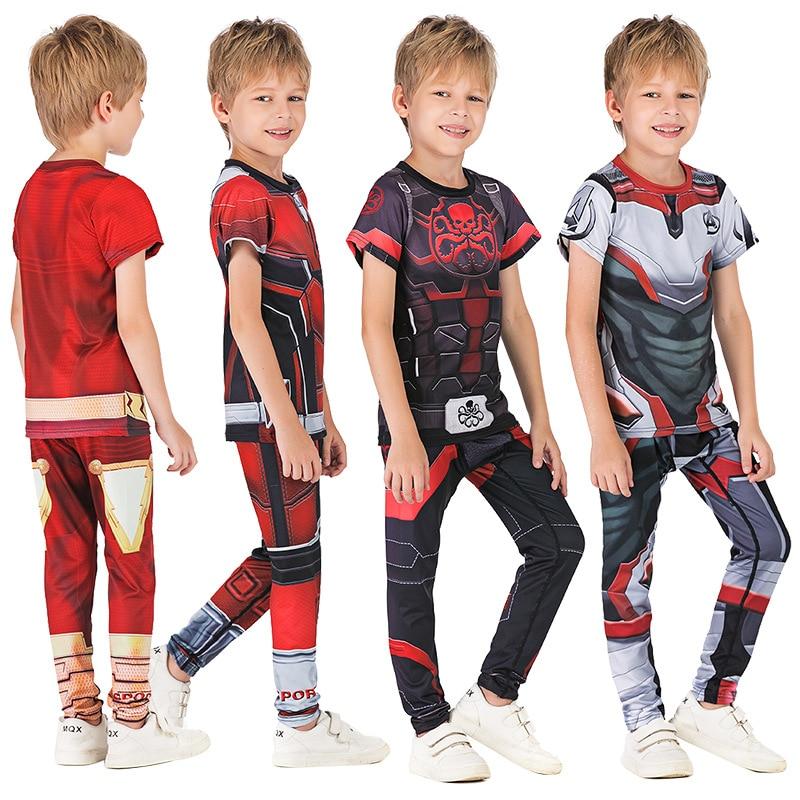 Kids MMA Boxing Set Compression Jerseys+Pants Children MMA Rashguard Training Tight T-Shirts Trousers Teenagers MMA Clothing