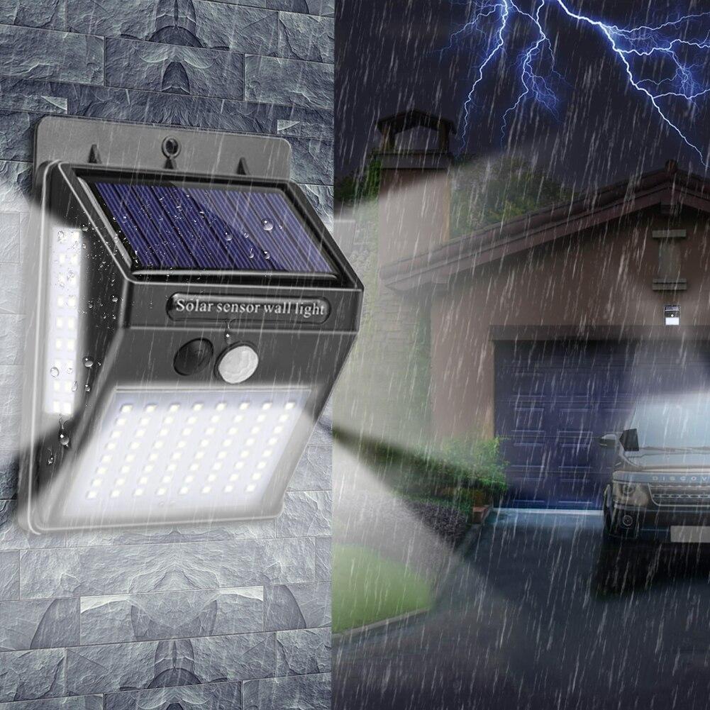Oświetlenie zewnętrzne 100 LED solarna ścienna lekka wodoodporna lampa zewnętrzna LED z czujnikiem ruchu PIR zewnętrzne światło