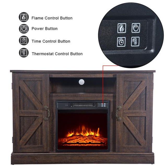 47'' Log Brown TV Cabinet with 1400W Fireplace Heater  3