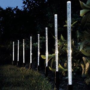 8Pcs Solar Tube Light Bubbles Stick Solar Lamp Pathway Lawn Landscape Decoration Acrylic Outdoor Garden Patio Lamps Set(China)