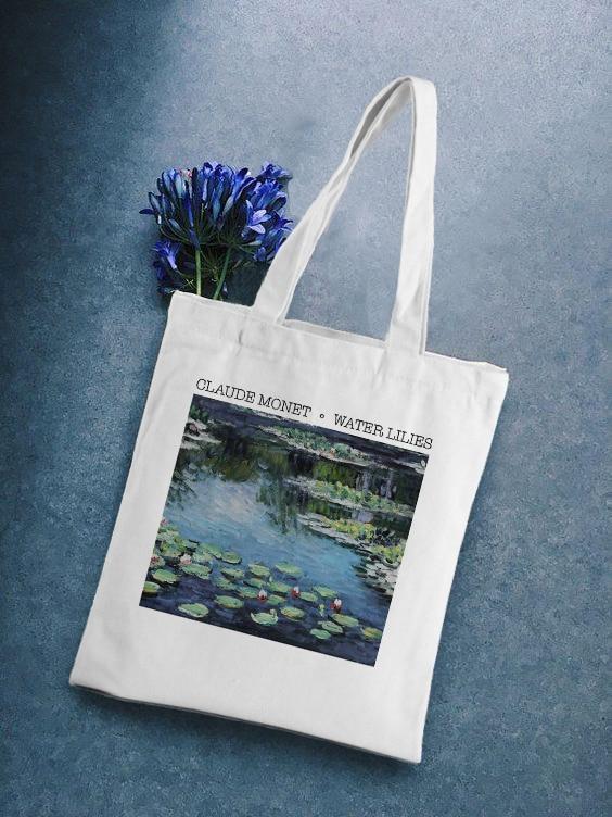 Casual Water Lilies Graphic Printed Canvas Shoulder Bag Female Harajuku New Ulzzang Vintage Large Capacity Shoulder Bags