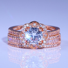 Diamond ring rose gold rings Crystal moissanite Rose flower two-piece Luxury jewelry Cubic zirconia 925 B2803