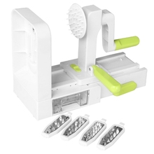 Durable Stainless Steel Blades Spiralizer Vegetable Slicer Catch Store Container 50JD
