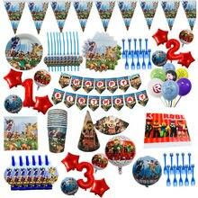 Roblo jogo meninos decorações de festa de aniversário crianças saco de presente copos de papel placas faca colher chá de fraldas descartáveis utensílios de mesa suprimentos