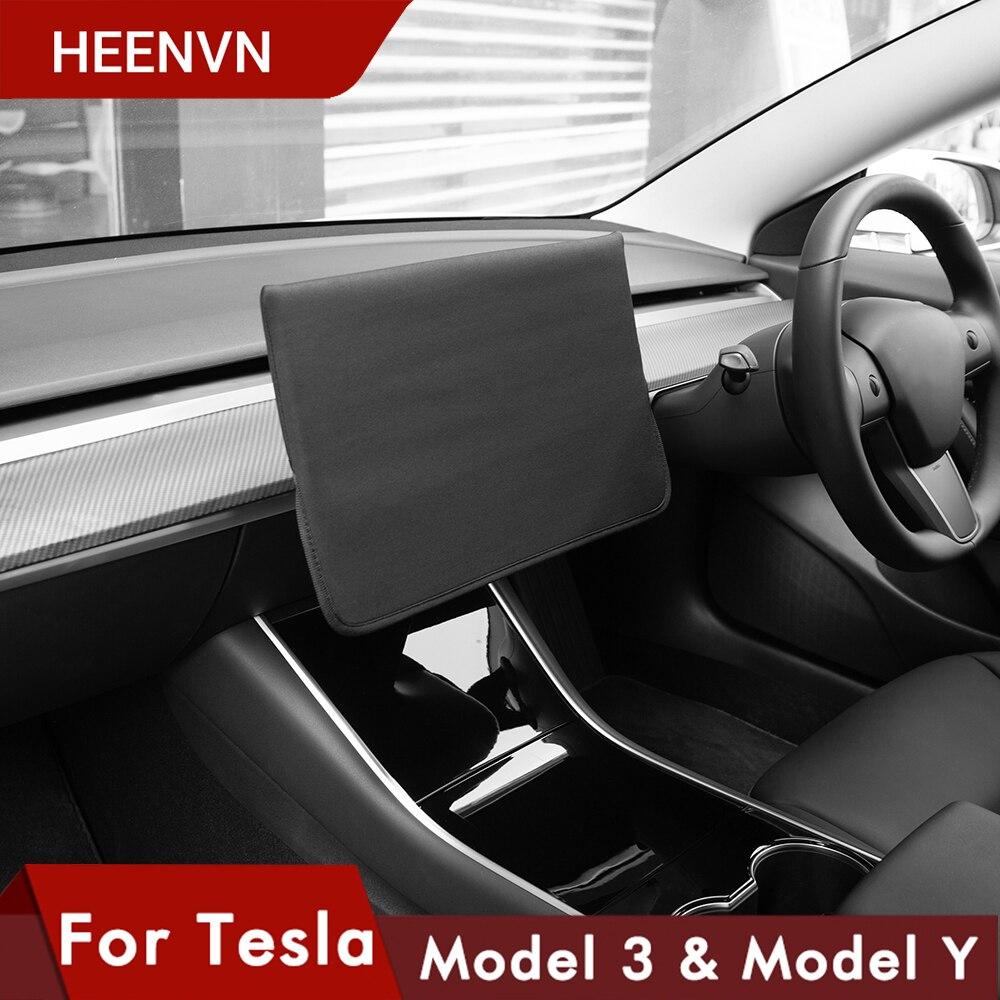 Heenvn Pour Tesla Modèle 3 2021 Model Y Accessoires Couverture de Navigation Manches Sans Lacet Parasol Protecteur D'écran Tissu Imperméable |