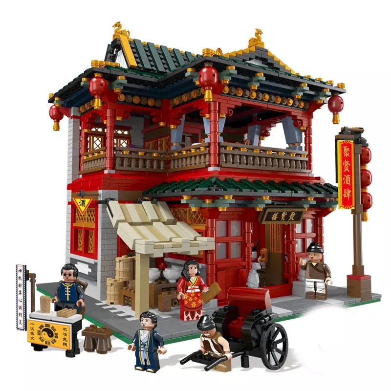 3267Pcs XINGBAO Building Blocks XB-01002 Moc Creator China Town Series Chinese Pub Traditional Chinese architecture Bricks Toys 1