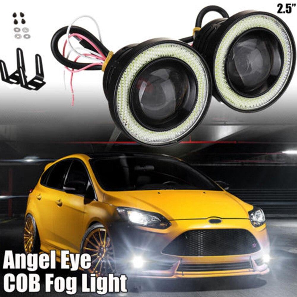 2PCS Auto LED Objektiv Nebel Lampe 30W Reverse Backup Licht Universal Auto Tuning Auto Lampe COB Engel Auge nebel Lampe
