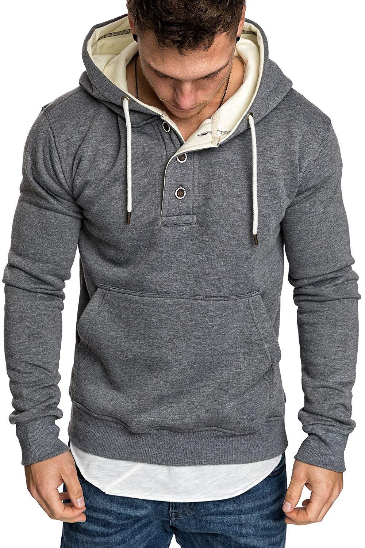 Solid Button Pocket Hoodies Men Sweatshirts 2020 Rapper Hip Hop Hooded