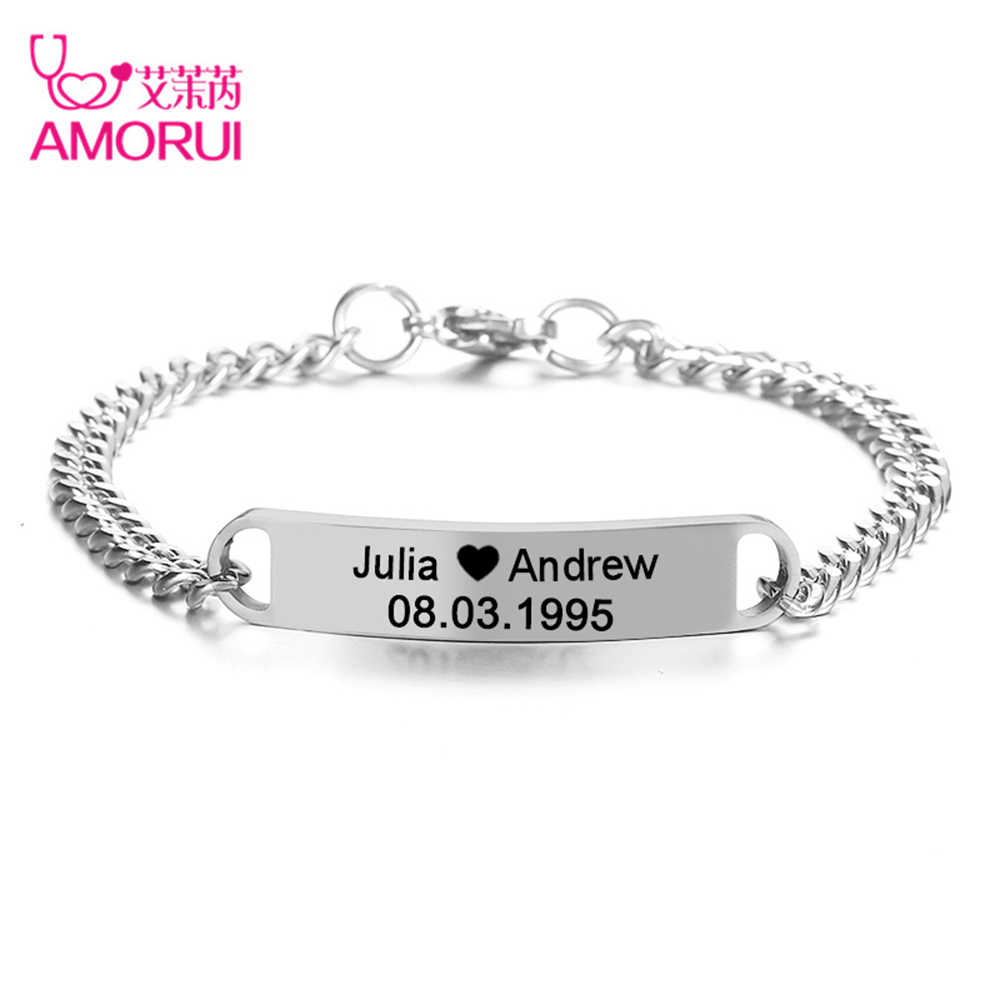 Silver Women Men ID Name DIY Free Engraving Braclet Charm Chain Bangle Plate Bar