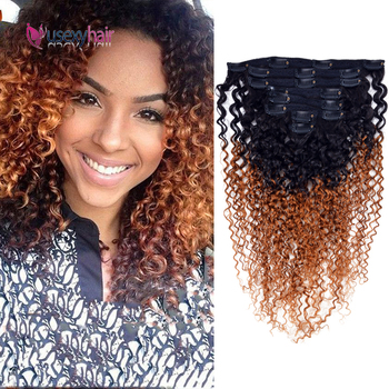 Kinky Curly Human Hair Clip In Extensions Brazilian Kinky Straight Remy Hairpieces Clip In Human Hair Extensions For Black Women clip in hair extensions natural human virgin brazilian hair clip ins afro kinky curly clip in hair extensions 10 26 inches in