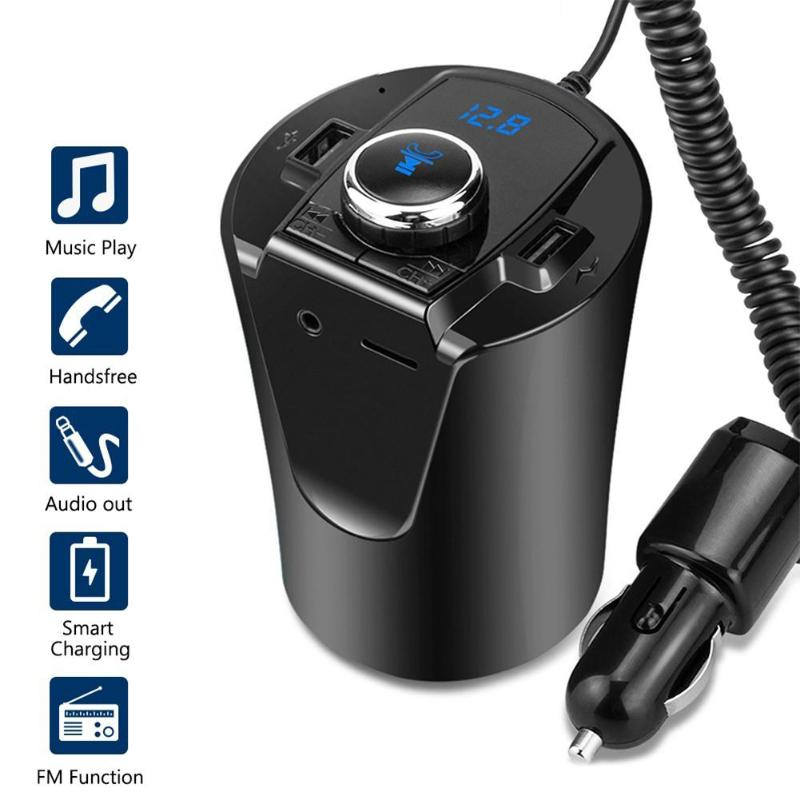 <font><b>Car</b></font> <font><b>Bluetooth</b></font> <font><b>FM</b></font> <font><b>Transmitter</b></font> Modulator 3.5mm AUX <font><b>MP3</b></font> Player Hands Free <font><b>Car</b></font> Kit Cup Pattern 2 USB <font><b>Car</b></font> <font><b>Charger</b></font> <font><b>Adapter</b></font> image