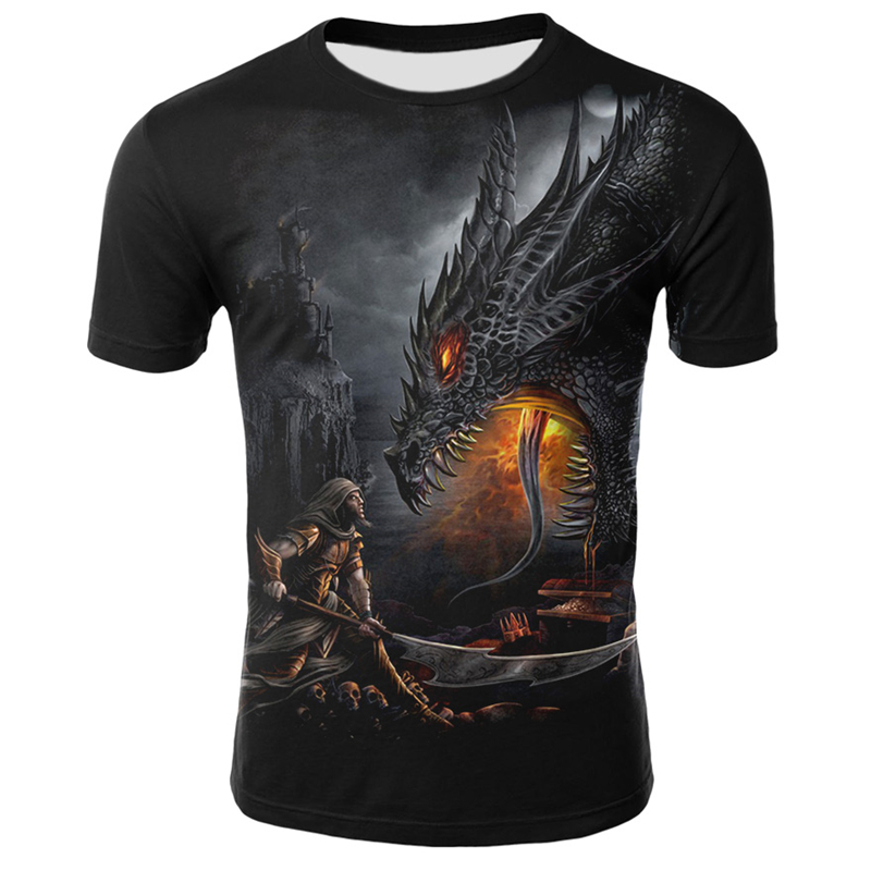 Mens T Shirt Summer Casual O-Neck Short Sleeve Tops Tees Cool Dragons Print T-shirt Streetwear Funny Male Clothing