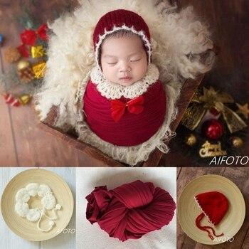 Реквизит для фотосъемки новорожденных обертывания рогов вязаная шапка для девочек Рождественские наряды шаль Roupa Детские аксессуары для фотосъемки в студии