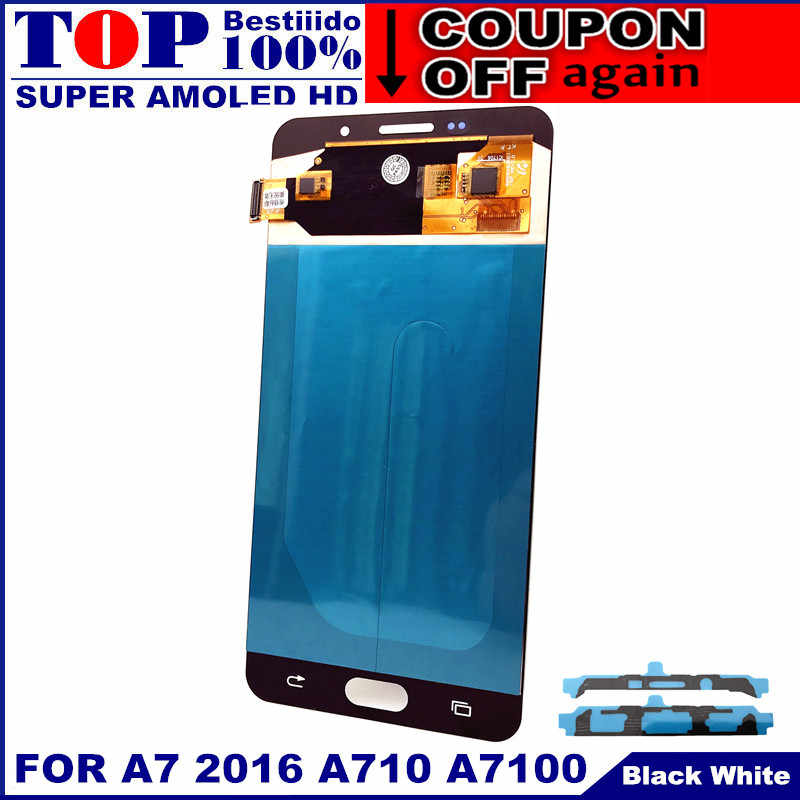 AMOLED Мобильный телефон lcd s для Samsung Galaxy A7 2016 A710 A7100 A710F A710M дисплей кодирующий