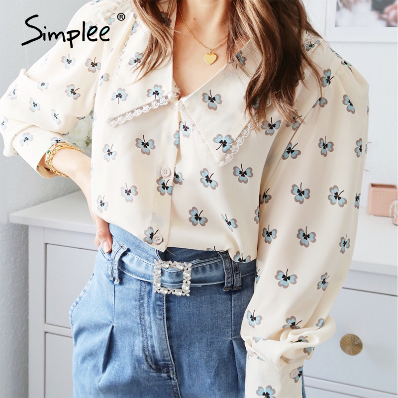 Simplee Vintage floral print blouse women Casual long sleeve female top shirt v-neck streetwear office ladies blouse shirt 2020(China)
